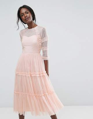 Lace and Beads Lace & Beads Tiered Sheer Tulle Midi Dress with 3/4 Sleeve