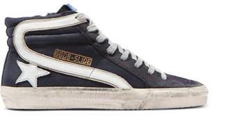 Golden Goose Slide Distressed Denim, Suede And Leather High-top Sneakers - Black