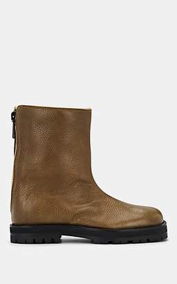 Maison Margiela Women's Shearling-Lined Leather Ankle Boots - Olive