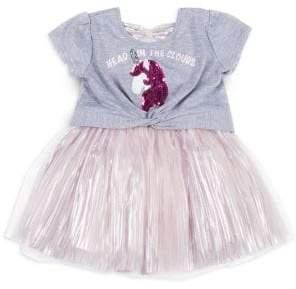 Little Lass Little Girl's Sequin Graphic Dress