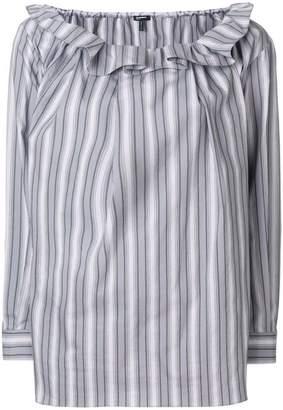 Jil Sander Navy ruffle neck artist blouse