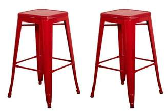 "Vogue Furniture Direct Barstool 30"" backless top mesh metal Stools RED (Set of 2) VF1571014"