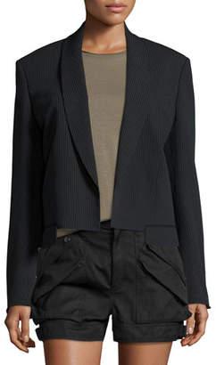 Helmut Lang Ribbed Shawl-Collar Cropped Jacket, Black