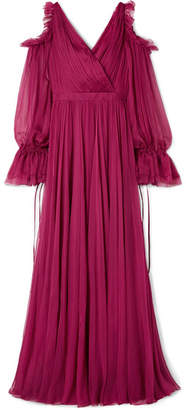Alexander McQueen - Cold-shoulder Pleated Ruffled Silk-chiffon Gown - Plum
