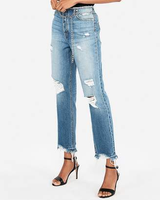 Express High Waisted Chain Original Straight Ankle Jeans