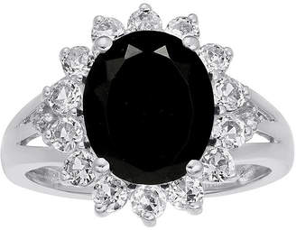 FINE JEWELRY Oval Genuine Black Onyx and Lab-Created White Sapphire Ring