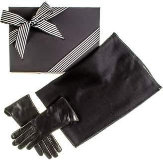 Black Cashmere Scarf and Rabbit Fur Gloves Gift Set