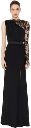 Alexander McQueen Asymmetrical Lace & Duchesse Satin Dress