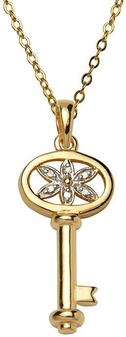 18k Gold-Over-Silver Diamond Accent Floral Key Pendant