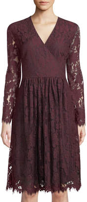 Neiman Marcus Long-Sleeve Lace Fit-&-Flare Dress, Red