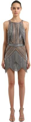 Julien Macdonald Fringed Knit And Embroidered Dress