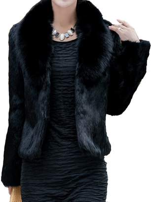 Helan Apparel Helan Women's Short Slim Faux Fox Collar and Faux Rabbit Fur Coat US