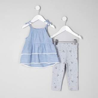 River Island Mini girls blue tiered cami outfit