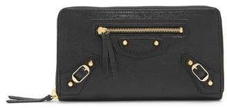 Balenciaga Classic Zip Around Leather Wallet - Womens - Black