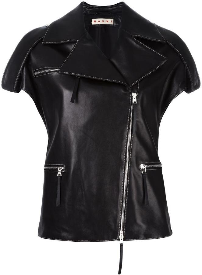 MarniMarni leather biker gilet