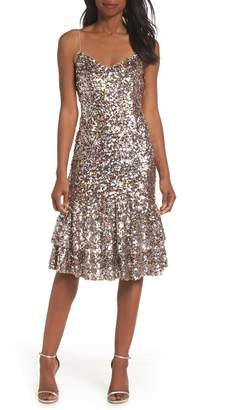 Adrianna Papell Ruffle Hem Sequin Midi Dress