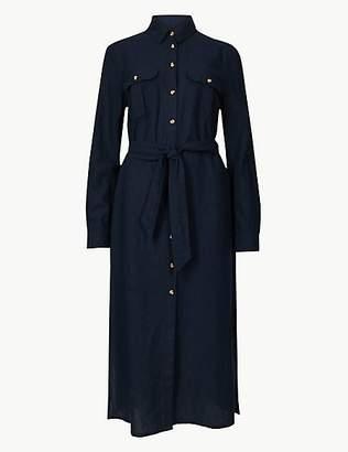 M&S Collection Long Sleeve Shirt Midi Dress