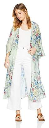 Steve Madden Women's Long FLORAL DUSTER KIMONO Cardigans Casual Cover up Coat Outwear Top