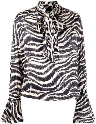 Just Cavalli animal print pussy bow blouse
