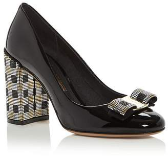eee5cac7bd53 Salvatore Ferragamo Women s Vara Embellished High Block-Heel Pumps