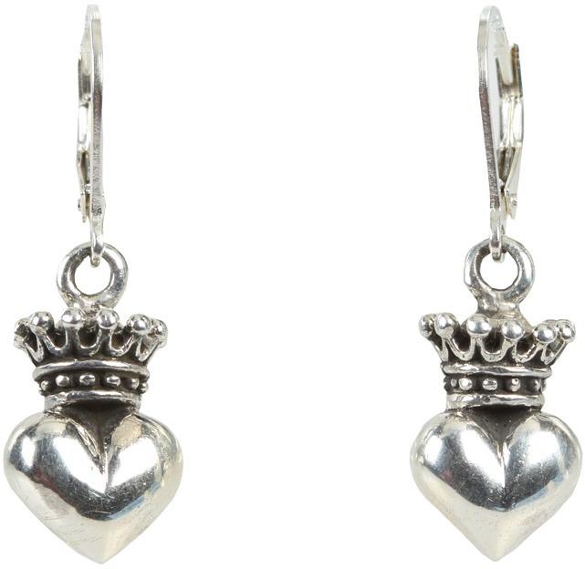 King Baby Studio Crowned Heart Lever Back Earrings