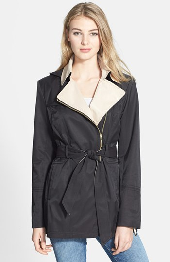 Vince Camuto Two-Tone Asymmetric Zip Trench with Detachable Hood