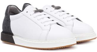Brunello Cucinelli Leather and felt sneakers