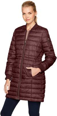 Kenneth Cole New York Kenneth Cole Women's Lightweight Anorak Puffer Varsity with Rib Knit Trims