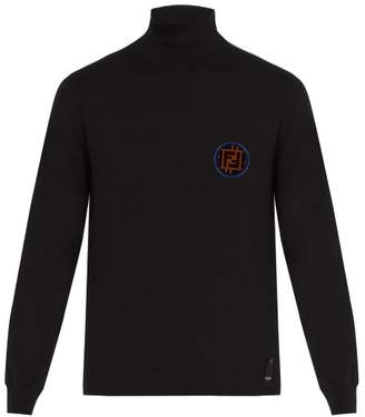 Fendi Ff Logo Patch Roll Neck Cashmere Sweater - Mens - Black