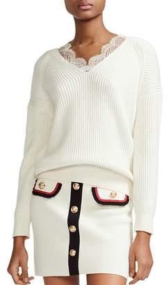 Maje Matilde Lace-Trimmed V-Neck Sweater