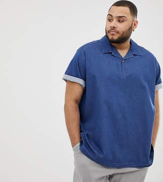 59d2eed75a2 Asos Design DESIGN Plus oversized boxy stretch denim shirt