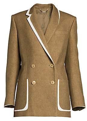 Fendi Women's Leather-Trim Flannel Tweed Double-Breasted Blazer