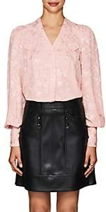Mayle Maison Women's Charlotte Floral Silk Jacquard Blouse - Pink