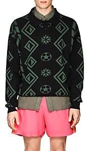 Gosha Rubchinskiy Men's Geometric-Pattern Cotton Polo Sweater - Green
