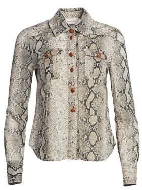 Zimmermann Corsage Cotton Python Print Blouse