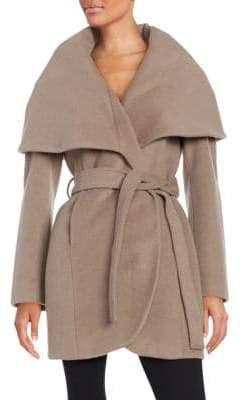 T Tahari Marla Wool Blend Belted Wrap Coat
