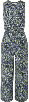 MICHAEL Michael Kors Belted Floral-print Crepe Jumpsuit - Navy