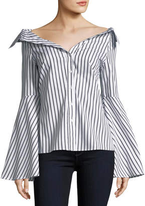 Caroline Constas Persephone Button-Front Striped Poplin Blouse