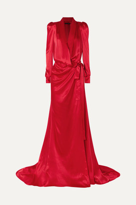 Ong-Oaj Pairam - Tammy Gathered Silk-satin Wrap Gown