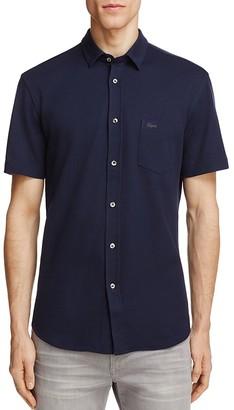 Lacoste Piqué Knit Slim Fit Button-Down Shirt $145 thestylecure.com