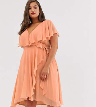 Asos DESIGN Curve cape back dipped hem midi dress