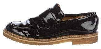 Ganni Patent Leather Round-Toe Loafers