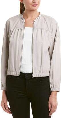 Rebecca Taylor Ruffle Neck Leather Bomber Jacket