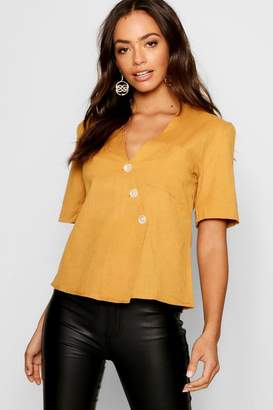 boohoo Short Sleeve Button Up Blouse