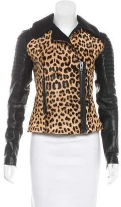 A.L.C. Leather-Paneled Pony Hair Jacket