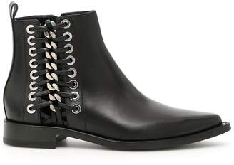 Alexander McQueen Leather Booties With Chain