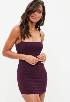 Missguided Petite Burgundy Bandeau Strappy Crepe Dress