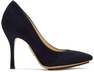 Charlotte Olympia Navy Suede Bacall Heels