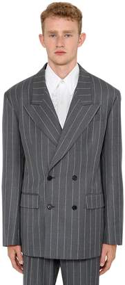 Versace Pinstriped Wool Double Breasted Jacket