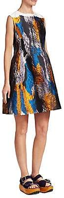 Marni Women's Feather Print Fit-and-Flare Dress